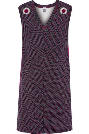 M MISSONI Eyelet-embellished jersey and crochet-knit mini dress