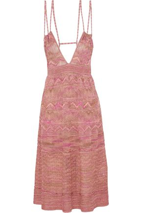 M MISSONI Cutout metallic crochet-knit dress