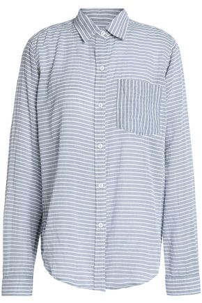 CURRENT/ELLIOTT The Boyfriend striped cotton shirt