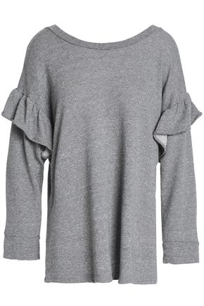 CURRENT/ELLIOTT Ruffle-trimmed mélange French cotton-blend terry sweatshirt