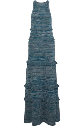 M MISSONI Metallic ruffle-trimmed crochet-knit gown