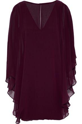 HALSTON HERITAGE Cape-effect layered chiffon and ponte mini dress