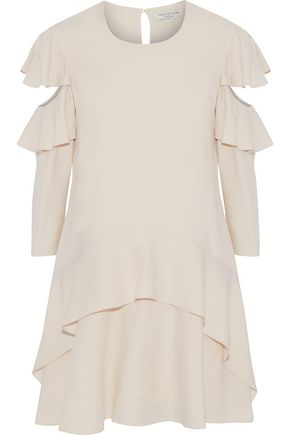 HALSTON HERITAGE Cutout ruffled cady mini dress