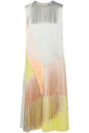 M MISSONI Fringed color-block satin-crepe midi dress
