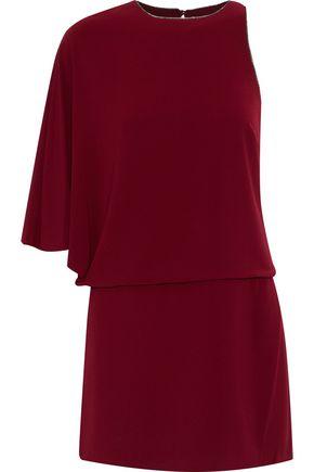 HALSTON HERITAGE Asymmetric crepe mini dress