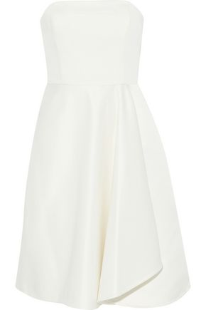 HALSTON HERITAGE Strapless duchesse-satin and faille dress