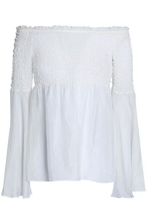 BAILEY 44 Shoot The Breeze off-the-shoulder smocked crinkled-silk top