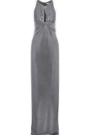 HALSTON HERITAGE Twist-front cutout lamé gown