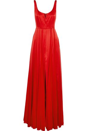 HALSTON HERITAGE Split-front satin and pleated chiffon gown