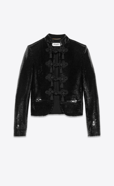 SAINT LAURENT Classic Jackets Woman all over sequined jacket a_V4