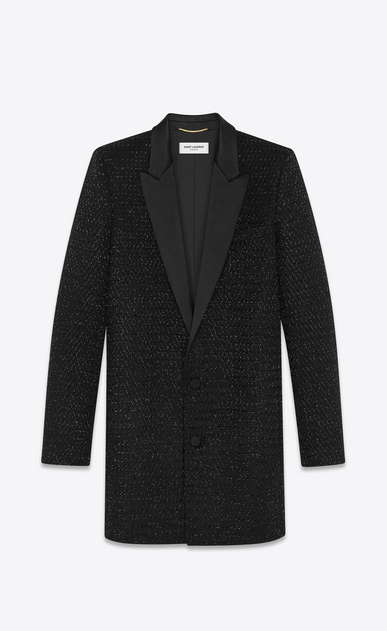 SAINT LAURENT Classic Jackets Woman embroidered wool tux jacket a_V4