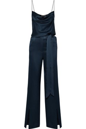 HALSTON HERITAGE Belted draped satin jumpsuit