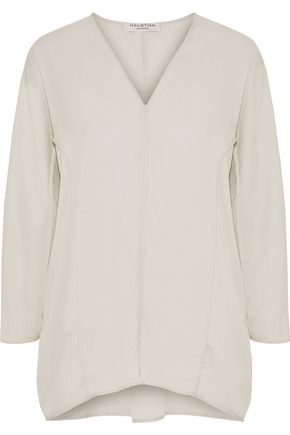 HALSTON HERITAGE Silk-blend crepe de chine blouse