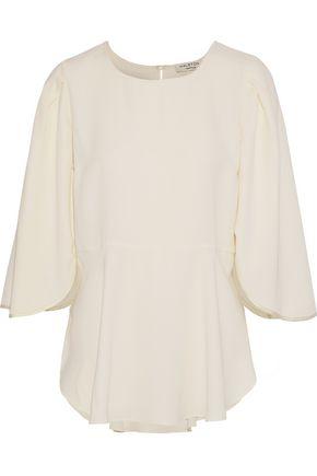 HALSTON HERITAGE Fluted crepe de chine blouse