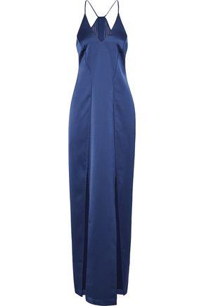 HALSTON HERITAGE Chiffon-paneled satin gown