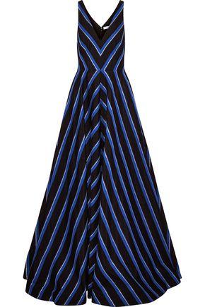 HALSTON HERITAGE Metallic striped canvas gown