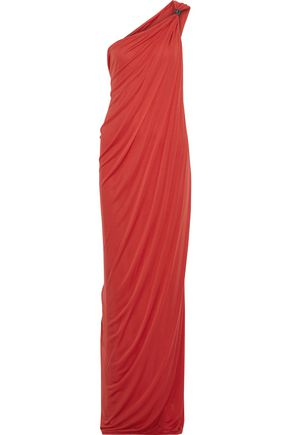 HALSTON HERITAGE One-shoulder draped jersey gown