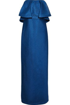 HALSTON HERITAGE Strapless ruffled ribbed mesh gown