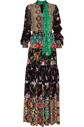 ALICE + OLIVIA Clementine chiffon-paneled printed silk maxi dress