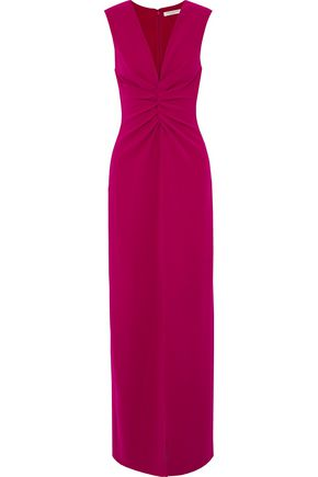 HALSTON HERITAGE Split-front ruched crepe gown
