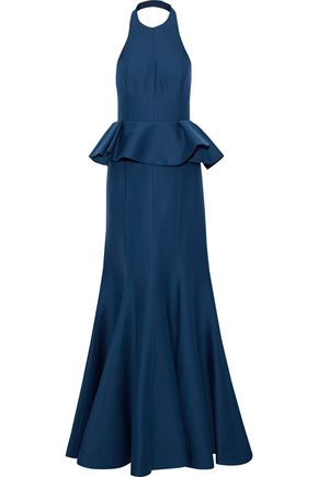 HALSTON Cotton and silk-blend faille peplum halterneck gown