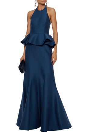 HALSTON HERITAGE Ruffled cotton and silk-blend  halterneck gown