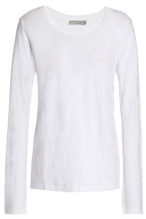 Vince Slub Pima Cotton Jersey Top In White Modesens