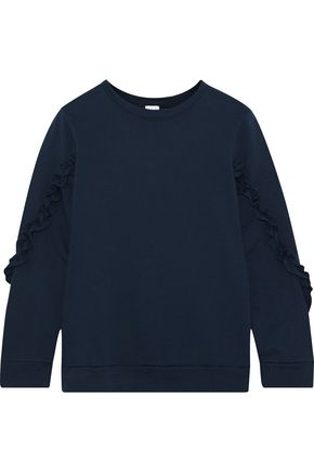 IRIS & INK Summer ruffle-trimmed French cotton-terry sweatshirt