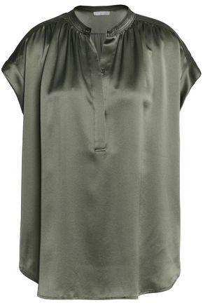 VINCE. Gathered silk-satin top