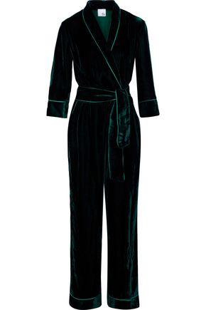 IRIS & INK Wrap-effect printed velvet jumpsuit
