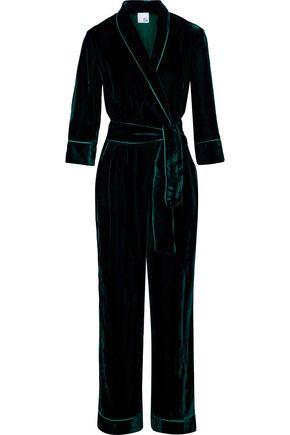 IRIS & INK Ripley satin-trimmed velvet jumpsuit