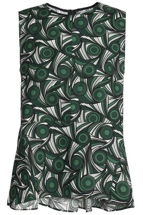 MARNI Fluted printed cotton-poplin top