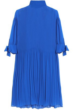 BY MALENE BIRGER Knotted plissé-chiffon mini dress