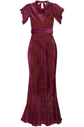 ATTICO Gathered devoré-chiffon gown