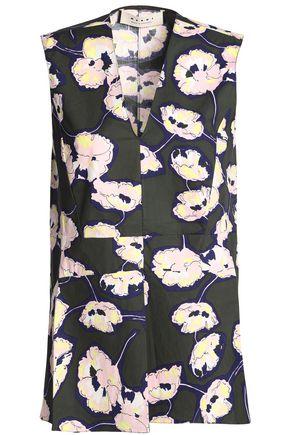 MARNI Floral-print cotton-poplin top