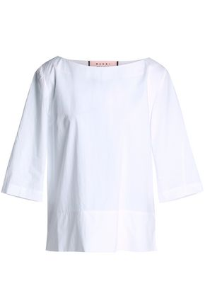 MARNI Pleated cotton-poplin blouse