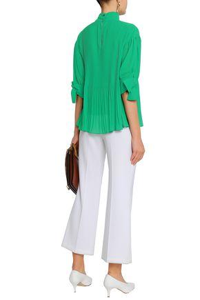 BY MALENE BIRGER Knotted plissé-georgette blouse