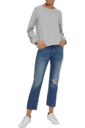 IRIS & INK Summer ruffle-trimmed French cotton-terry sweatshirt