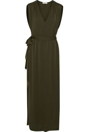 HALSTON HERITAGE Belted silk-blend midi dress