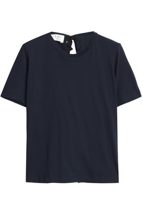 MARNI Split-back bow-detailed cotton-jersey T-shirt