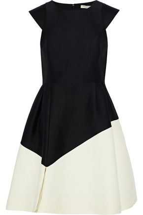 Two Tone Cotton And Silk Blend Mini Dress by Halston Heritage