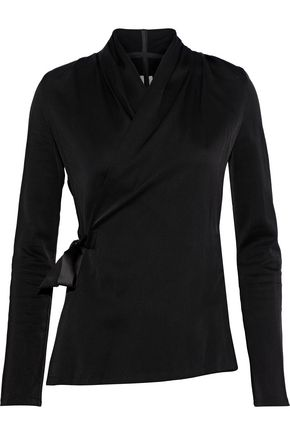 RICK OWENS Satin-trimmed crinkled twill wrap top