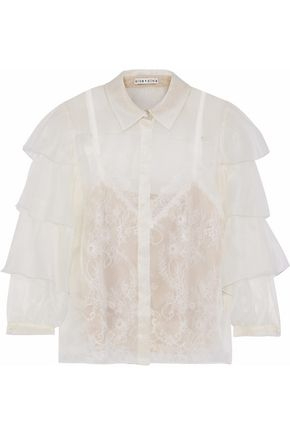 ALICE + OLIVIA JEANS Mary Alice layered organza and Chantilly lace blouse