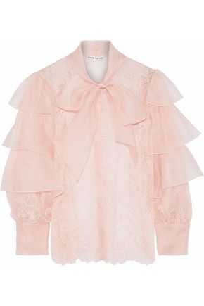 ALICE + OLIVIA Talulah pussy-bow organza-trimmed Chantilly lace blouse