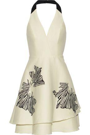 HALSTON HERITAGE Embroidered cotton and silk-blend halterneck dress