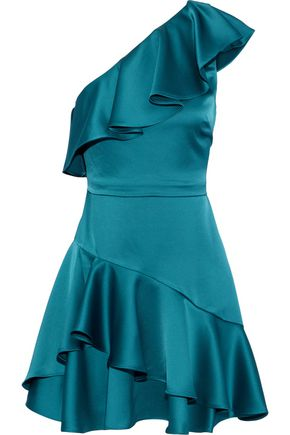 HALSTON HERITAGE One-shoulder ruffled satin mini dress