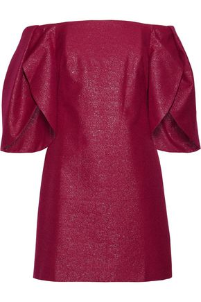 HALSTON HERITAGE Off-the-shoulder metallic cotton-blend mini dress