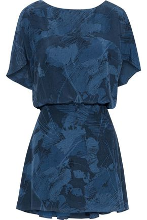 HALSTON HERITAGE Gathered printed silk-chiffon mini dress