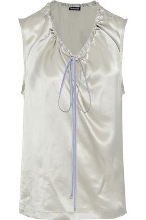ANN DEMEULEMEESTER Gathered silk-satin top