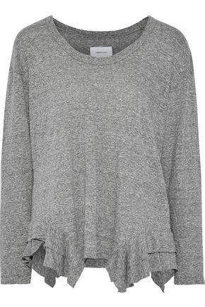 CURRENT/ELLIOTT The Tier ruffle-trimmed mélange jersey top